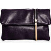 Zip Detail Fold Over Clutch Bag - black