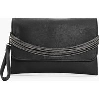 Zips Handle Clutch - black