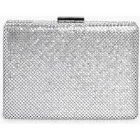 Chainmail Box Clutch Bag - silver