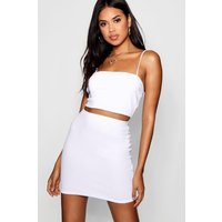Womens Strappy Crop & Mini Skirt Co-Ord Set - White - 12, White
