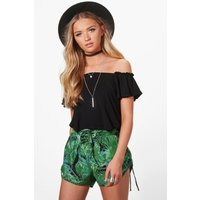 Palm Print Runner Shorts - green