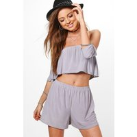 Off Shoulder Crop & Shorts Co-ord Set - silver