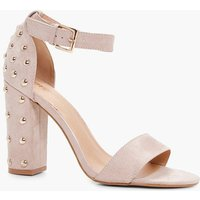 Studded Back Two Part Block Heel - nude