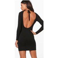 Scoop Back Bodycon Dress - black
