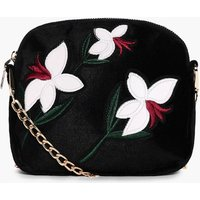 Embroidered Cross Body Bag - white