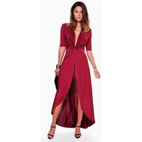 Knot Front Slinky Dip Hem Maxi Dress - berry