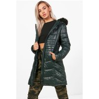 Fitted Padded Jacket With Faux Fur Hood - teal