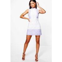 Mol Crochet & Lace Panel Shift Dress - ivory