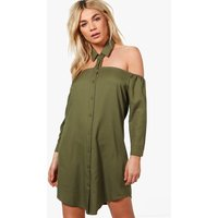 Cut Out Collar Shift Dress - khaki