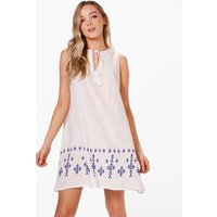 Embroidered Swing Dress - blue