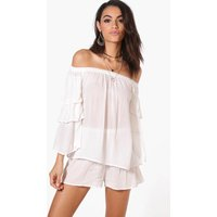 Woven Off The Shoulder Frill Crop & Short Co-Ord - cream