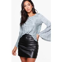 Flared Sleeve Pleated Top - duck egg blue