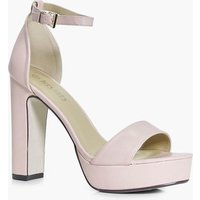 Womens Wide Fit Platform Two Part Heels - Beige - 8, Beige