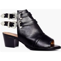 Peeptoe Western Buckle Shoe Boot - black