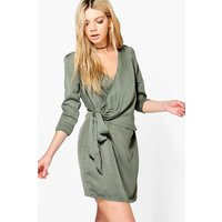 O-Ring Wrap Front Shirt Dress - khaki