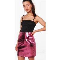 Metallic Leather Look A Line Mini Skirt - pink