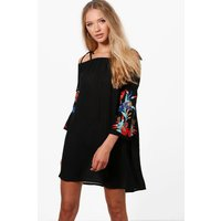 Sofia Embroidered Shift Dress - black