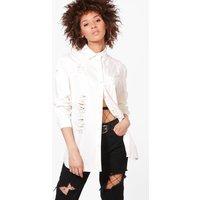 Oversize Distressed Denim Shirt - white