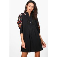Eve Embroidered Batwing Shirt Dress - black