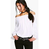 Woven Off The Shoulder Ruffle Top - white