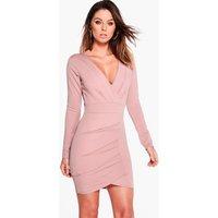 Pleat Detail Wrap Bodycon Dress - rose
