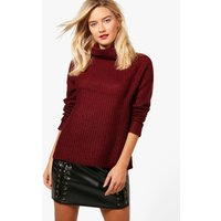 Soft Knit Turtle Neck Jumper - berry