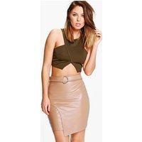 D Ring Leather Look Mini Skirt - tan