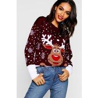 Womens Reindeer Christmas Jumper - red - S/M, Red