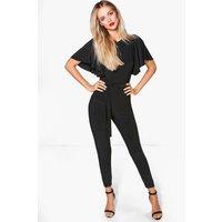 Batwing Belted Skinny Leg Jumpsuit - black