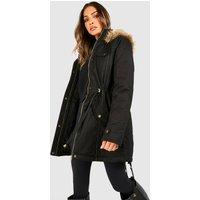 Parka With Faux Fur Trim Hood - black