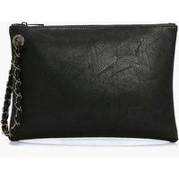 Chain Handstrap Clutch Bag - black