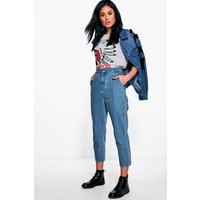Seam Front Mom Jeans - mid blue