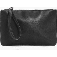 Zip Top Handstrap Clutch Bag - black