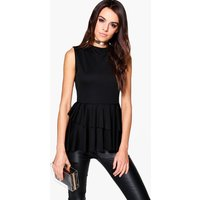 Sleeveless Top With Layered Frill Detail - black