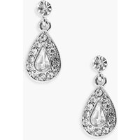 Bridal Diamante Tear Drop Earrings - silver