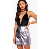 Metallic A Line Mini Skirt - lilac