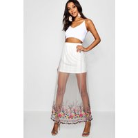 Embroidered Mesh Maxi Skirt - ivory