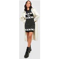 Womens Reindeers & Snowflake Christmas Jumper Dress - black - M/L, Black