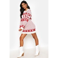 Womens Reindeers & Snowflake Christmas Jumper Dress - white - S/M, White