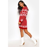 Womens Reindeers And Snowflake Christmas Jumper Dress - Red - M, Red