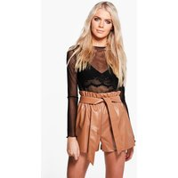 Paper Bag Waist Leather Look Shorts - tan
