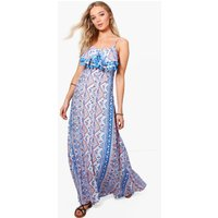Paisley Split Front Tassle Maxi Dress - blue