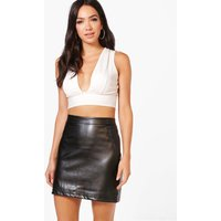 A Line Leather Look Mini Skirt - black