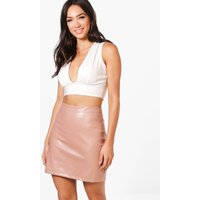 A Line Leather Look Mini Skirt - rose