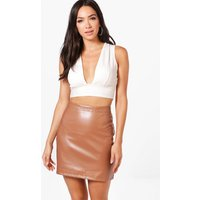 A Line Leather Look Mini Skirt - tan