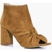Peeptoe Knotted Front Shoe Boot - tan