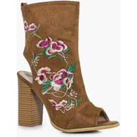 Peeptoe Sock Boot With Floral Embroidery - tan