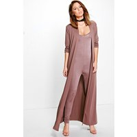Slinky Unitard and Texture Duster Co-ord - chocolate