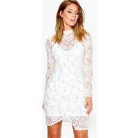 Sequin Lace Mock Wrap Dress - ivory
