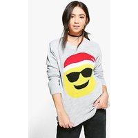 Sunglasses Emoji Christmas Jumper - silver